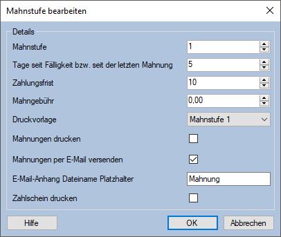 Mahnstufen Mauve System3 Handbuch
